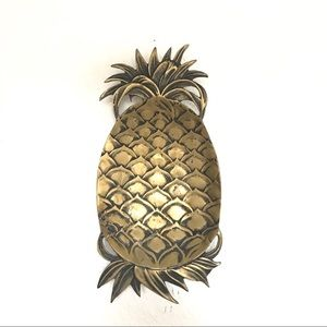 Vtg mcm pineapple brass bowl or wall hanging